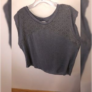 Cute Gray Tank with Lace with muscle tee sleeves